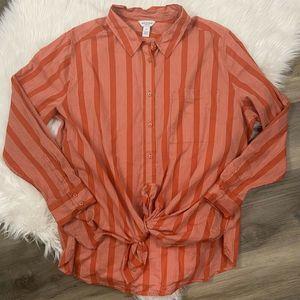 Terracotta Stripe Button Up Shirt 2X Long Sleeve